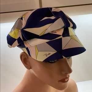 Authentic Emilio Pucci geometry waterproof raincap